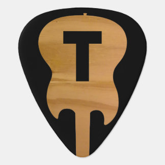 electric-guitar monogram, guitarist name & initial guitar pick