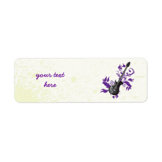 Electric guitar on purple leaves custom products return address label