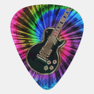 Electric Guitar on Rainbow Tie-Dye Guitar Pick