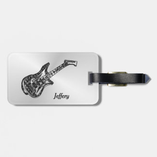 Electric Guitar on Silver Personal Luggage Tag
