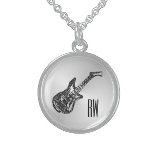 Electric Guitar on Silver Personal Sterling Silver Necklace