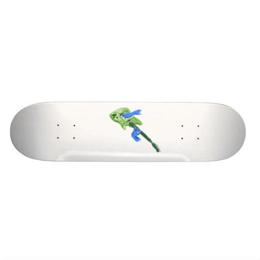 Electric guitar painting, green guitar blue hands skateboard deck