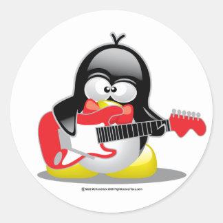Electric Guitar Penguin Round Sticker