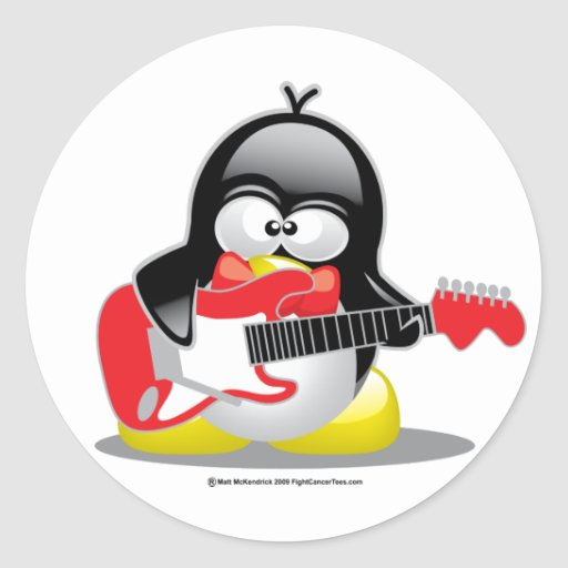 Electric Guitar Penguin Round Stickers