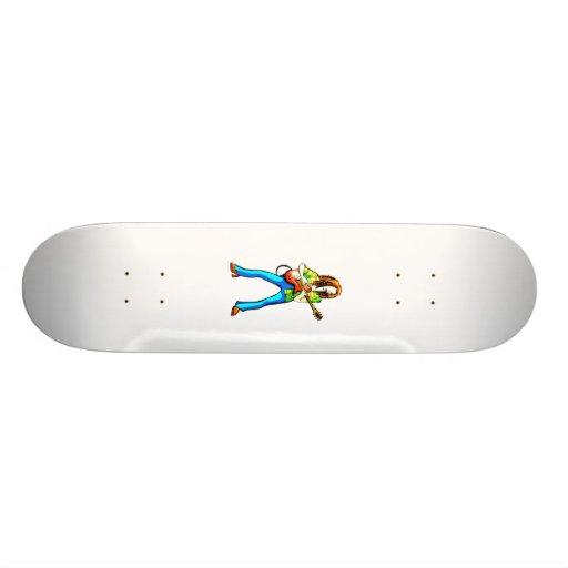 Electric Guitar Player Graphic Image Blue Pants Custom Skate Board
