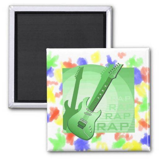 electric guitar rap word music green.png fridge magnets