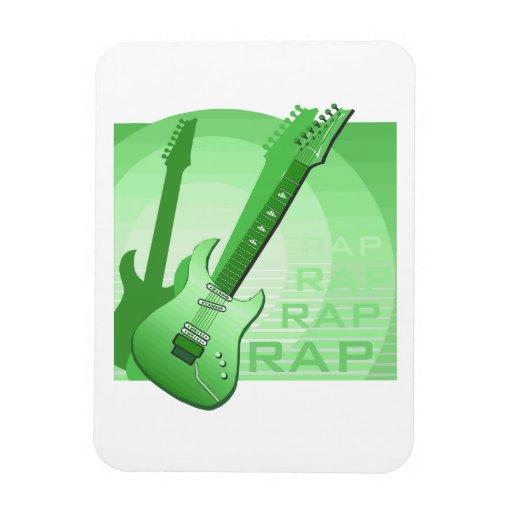 electric guitar rap word music green.png rectangular magnet