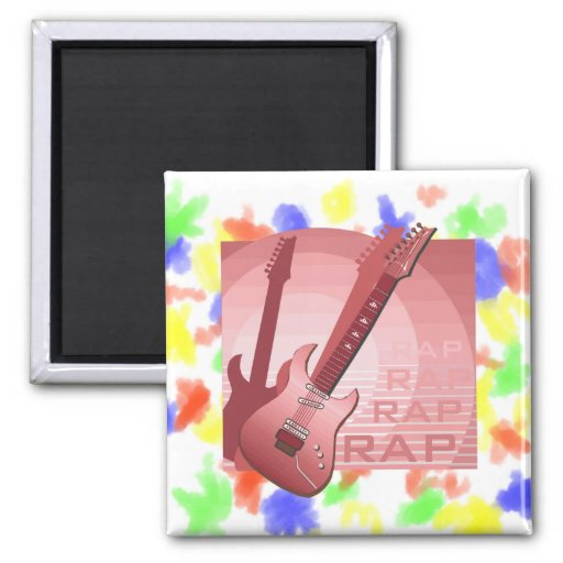 electric guitar rap word music red.png refrigerator magnets