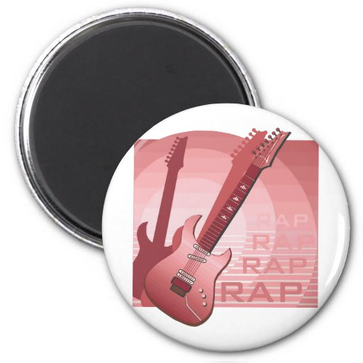 electric guitar rap word music red.png fridge magnets