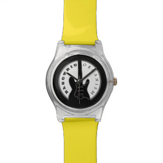 Electric Guitar Rock Music Cool Black Yellow Chic Watch