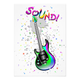 Electric Guitar Sound Colors Invitations