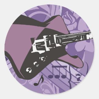 Electric Guitar Stickers Round Sticker
