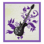 Electric Guitar, Swirls And Abstract Leaves Poster