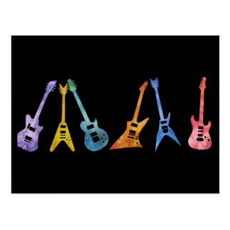 Electric Guitars in Electric Colors Post Cards