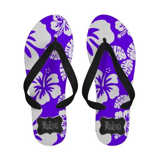 Electric Indigo Tropical Hibiscus; Chalkboard Flip-Flops