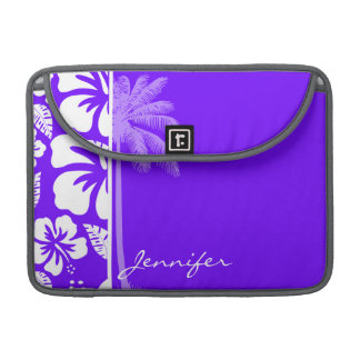 Electric Indigo Tropical Hibiscus; Palm Sleeve For MacBook Pro