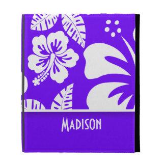 Electric Indigo Tropical Hibiscus; Personalized iPad Case