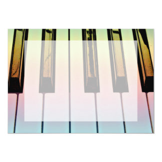 electric keyboard with rainbow overlay 13 cm x 18 cm invitation card
