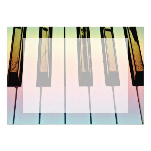 electric keyboard with rainbow overlay invitation