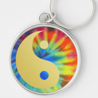 Electric Kool Aid Yin and Yang Silver-Colored Round Key Ring