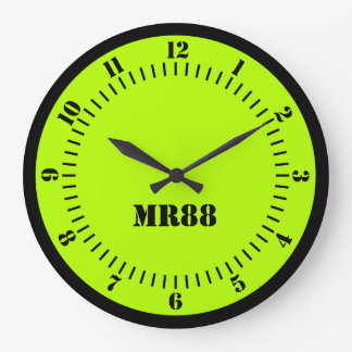 Electric Lime Green Accent Color Decor Monogram on Wallclocks