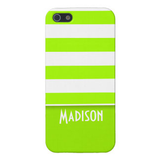 Electric Lime Green Stripes; Personalized iPhone 5 Cases