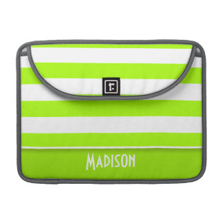 Electric Lime Green Stripes; Personalized MacBook Pro Sleeves