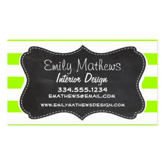 Electric Lime Horizontal Stripes; Chalkboard Pack Of Standard Business Cards