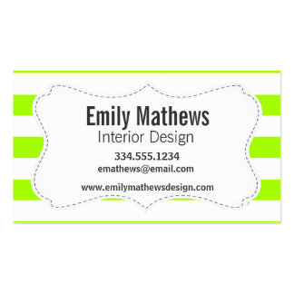 Electric Lime Horizontal Stripes; Striped Pack Of Standard Business Cards