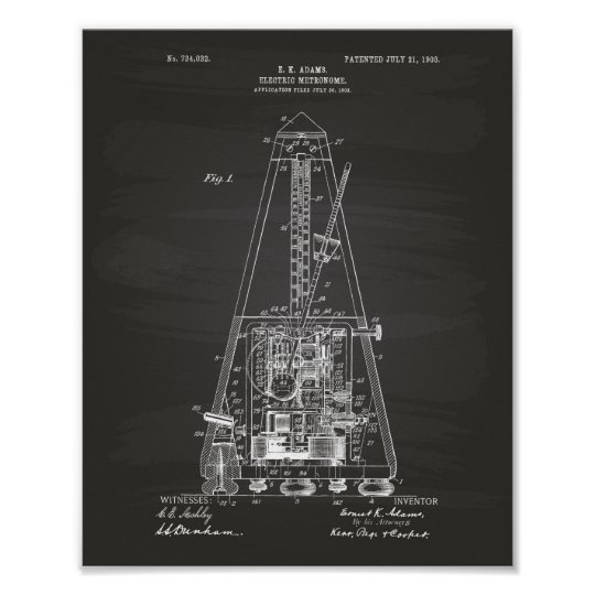 Electric Metronome 1903 Patent Art Chalkboard Poster