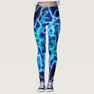 Electric Neon Blue Aqua Teal Lightning Leggings