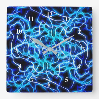 Electric Neon Blue Aqua Teal Lightning Square Wall Clock