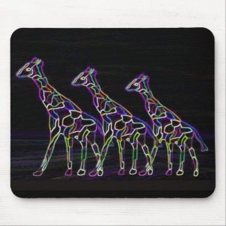 Electric Neon Giraffes Mouse Pad