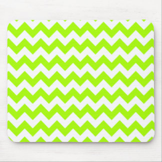 Electric Neon Lime Green Chevron Mouse Pads