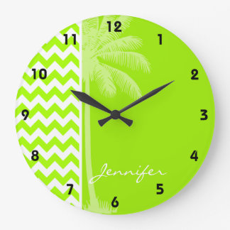 Electric Neon Lime Green Chevron; Tropical Palm Large Clock