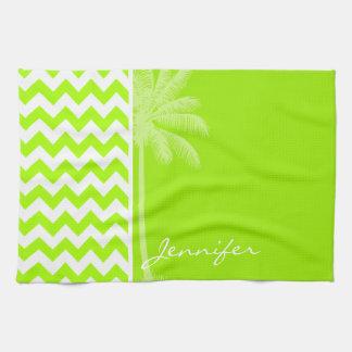 Electric Neon Lime Green Chevron; Tropical Palm Tea Towel