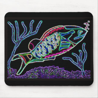 Electric Neon Parrotfish Mouse Pad