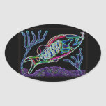 Electric Neon Parrotfish Oval Stickers
