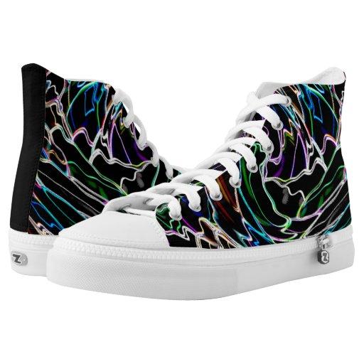 Electric Neon Swirl High-top Sneakers