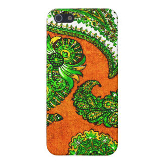 Electric Orange and Green Indian Paisley Case For iPhone 5/5S