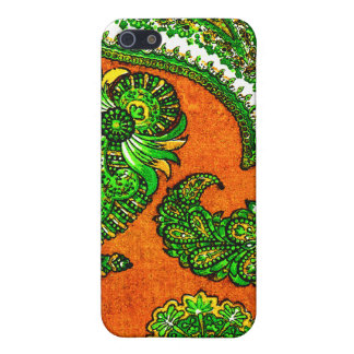 Electric Orange and Green Indian Paisley iPhone 5/5S Cases