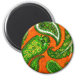 Electric Orange and Green Indian Paisley Magnet