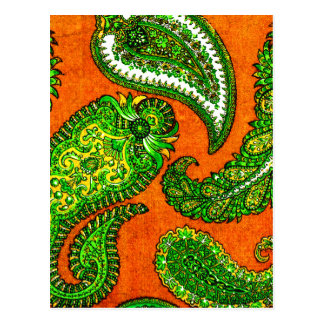 Electric Orange and Green Indian Paisley Postcard