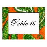 Electric Orange and Green Paisley Table Numbers Postcard