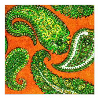 Electric Orange & Green Paisley Wedding Invitation