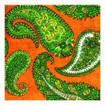 Electric Orange & Green Paisley Wedding Invitation