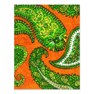 Electric Orange Paisley Wedding Invitation RSVP