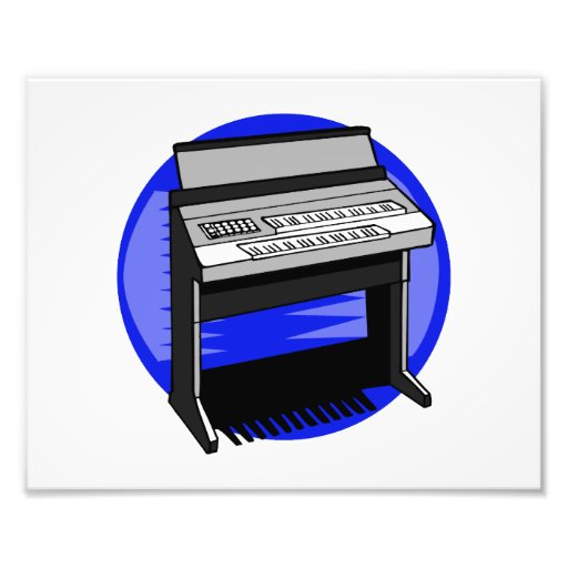 Electric Organ Blue Background Music Graphic Photographic Print