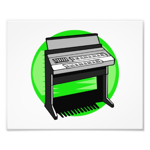 Electric Organ Green Background Music Graphic Photographic Print