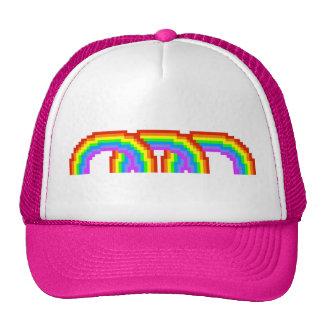 Electric Pink Retro Pixel Art Rainbow Happy Hat
